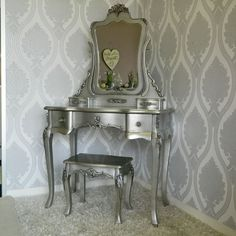 Silver Rose Dressing Table Mirror and Stool Set Bedroom Furniture Elegant Ornate in Home, Furniture & DIY, Furniture, Dressing Tables | eBay