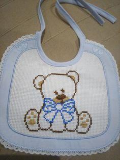 Cross Stitch Books, Cross Stitch Heart, Cross Stitch Designs, Cross Stitch Patterns, Baby Dyi, Palestinian Embroidery, Knitting Stitches, Baby Patterns, Baby Bibs