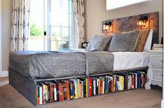 FOR storage in your apartment? Never go to bed without your books—simply slide an unused bookshelf underneath for more storage. This was originally seen on My Ideal Home.