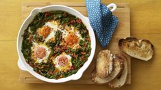 Nadiya's easy, spicy shakshuka recipe is a great way to get your protein and vegetables for breakfast. Delicious served with yoghurt and toast. Nadiya Hussain Recipes, Shakshuka Recipes, Good Food, Yummy Food, Vegetable Puree, Recipe Search, Base Foods, Veggie Recipes, Veggie Meals