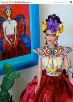 My Weeping Magdalena Doll, From My Frida Doll Collection In Memory of Frida Kahlo Mexican Artist In The Surrealism And Magic Movements