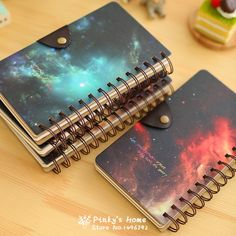 1 pc Corée Papeterie Créative Hélicoïdal Étoiles En Cuir Boucle Cahier Vierge A6 Vintage Notebook Journal Journal Intime