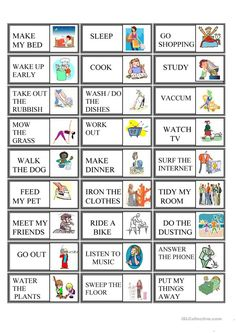 Domino Routine worksheet - Free ESL printable worksheets made by teachers English Grammar For Kids, English Games, English Activities, Vocabulary Activities, English Class, English Vocabulary, Teaching English, Learn English, Teaching Spanish