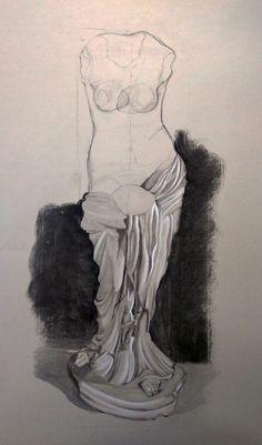 In progress. Dibujo del natural de 2º curso. Papel Ingres color gris. Carboncillo, lápiz carbón y lapiz graso blanco. 100 x 70 cm