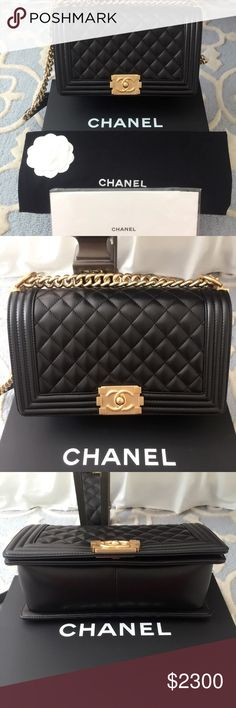 "Chanel Boy Medium Calfskin Gold Hardware 🚫NOT SELLING ON HERE 🚫 💰I'm Only selling through Google Wallet app so please TEXT ME @ 208-740-1954 BEFORE DOING ANYTHING   💰$2000 FIRM FIRM FIRM ""NO LOWER""  100% Authentic Old Medium Calfskin Black Quilted Leather Flap Bag & Gold Hardware 2016. Can be worn as cross-body. Condition: Brand New, Original Box, Authenticity Card, Dustbag. Receipt was lost sorry😟
