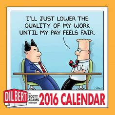 Short on wall space in your cube? There's room for this perfect-size calendar plus the company phone list and pictures of your cat. It includes a full-color #Dilbert strip with an expanded panel each month. | http://www.andrewsmcmeel.com/calendars/detail?sku=9781449465162&utm_source=gc-pinterest&utm_medium=socialmarketing&utm_content=pinboard-2016calendar-dilbert-wall&utm_campaign=social | #GoComics #comics #calendars