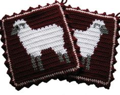 Chicken Pot Holders. Crochet burgundy potholders with by hooknsaw