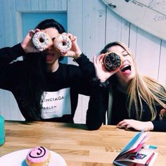 best friend, donut, food, friendship, girl, goals, grunge, happy ...