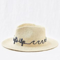 0aa4eab6f48 Aerie Embroidered Panama Hat ( 21) ❤ liked on Polyvore featuring accessories
