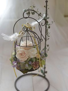 Birdcage Ring Bearer Wedding Ring Pillow & Birdcage by FinoJapan