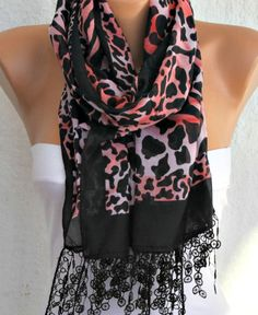 Leopard  Scarf   Cotton Scarf  Cowl with  by fatwoman,