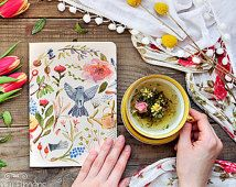 Eco notebook with garden watercolor illustration