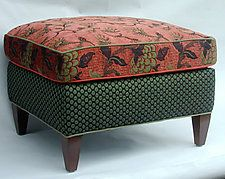 """Molly Rose Ottoman in Salmon by Mary Lynn O'Shea (Upholstered Ottoman) (18"""" x 26"""")"""