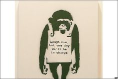 Sell Banksy Laugh Now, Original, My Art Broker Banksy Monkey, Bansky, Banksy Art, Urbane Kunst, Spray Paint Art, Thing 1, Artwork Images, List Of Artists, Stencil Art