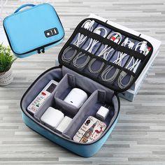 Cosmetic Storage, Bag Storage, Travel Kits, Travel Bag, Usb Gadgets, Travel Gadgets, Accessoires Iphone, Travel Organization, Blue Bags
