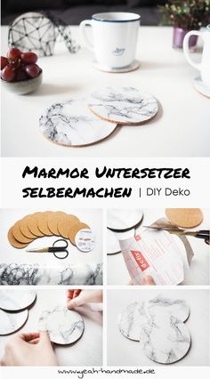 DIY Marmor Untersetzer aus den Ikea Kork Untersetzern AVSKILD als Dekoration sel… DIY marble coasters from the Ikea cork coasters AVSKILD as a decoration yourself. DIY Instructions and Tips on Yeah Handmade . Upcycled Home Decor, Handmade Home Decor, Diy Home Decor, Upcycled Crafts, Marble Coasters, Cork Coasters, Diy Hacks, Ikea Cork, Pot Mason Diy
