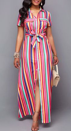 Multi Color Striped Dress Belted Turndown Collar Button Up Maxi Dress Button Up Maxi Dress, Maxi Shirt Dress, Maxi Dress With Sleeves, Long Sleeve Maxi, Hot Dress, Dress Prom, Latest African Fashion Dresses, Women's Fashion Dresses, Casual Dresses