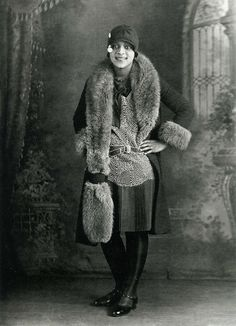 Annie Mae Manigault, in a beautifully embroidered or printed dress with fur coat, circa 1920. photo by Richard Samuel Roberts, via South Carolina ETV, Flickr set