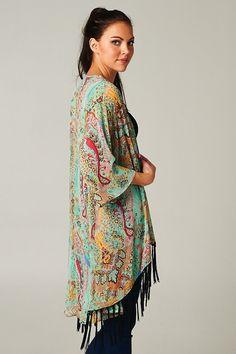 Bohemian Style ~ Boho Mint Paisley Gypsy Fringe Jacket