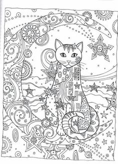 Cat Cats Kitty Kitties Kitten Kittens Feline Gatos Katze chat gatto cat котэ kočka druku gato katt macska tulostettava Coloring pages colouring adult detailed advanced printable Kleuren voor volwassenen coloriage pour adulte anti-stress kleurplaat voor volwassenen Line Art Black and White Abstract Doodle Zentangle ZenDoodle Paisley