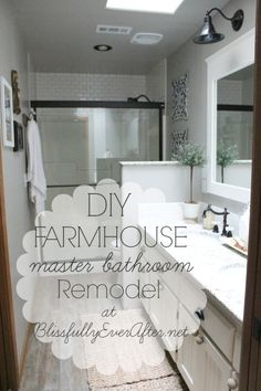 Farmhouse Master Bathroom Reveal -- 2013.  Blissfully Ever After blog.  Resources at: http://www.blissfullyeverafter.net/?s=Farmhouse+master+bathroom+details---Walls - Bedford Gray and Walls - White Dove ---- Martha Stewart paint.