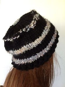 Hand Knit Hat Beret Slouch Designer Fashion Black Gold Silver Winter Chic Stylis | eBay