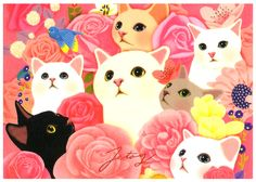 Jetoy Choo Choo Cat Postcard Set: Rainbow