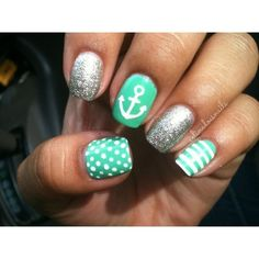I 💜 anchor nails! I love the designs in these nails although I would only do the ring finger with sparkles Fancy Nails, Love Nails, How To Do Nails, Pretty Nails, Teal Nails, Sparkle Nails, Green Nails, Aztec Nails, Chevron Nails