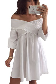fb2a6f5aa White Cross Panel Smocked Off Shoulder Mini Dress | BEADED CREATIONS Modest  Dresses Casual, Casual
