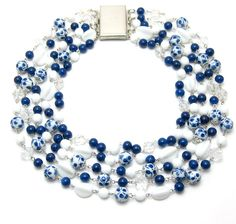 Vintage Glass Statement Necklace - EcoBling Couture Reclaimed Jewelry