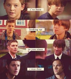 """""""I've been looking up to you since I was four.""""    i just realized that even when they show them growing up, Sam's hair is always longer then Dean's."""