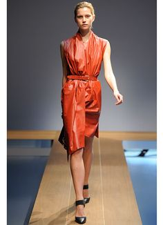 """VIONNET ~  """"This leather draped dress is so unexpected and cool."""""""