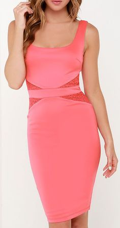 By My Side Coral Pink Lace Midi Dress