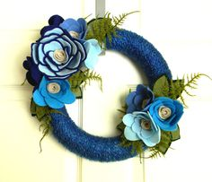 Blue for You: 12 inch Felt and Yarn Wreath