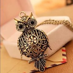 Vintage Inspired Owl Pendant Necklace