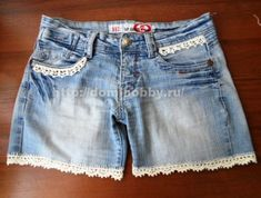 Domihobby.ru: Russian tutorial for crocheting an edging onto shorts, lots of photos and a chart.