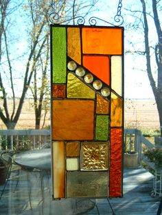 Stained Glass Amber Abstract  Panel. $40.00, via Etsy.