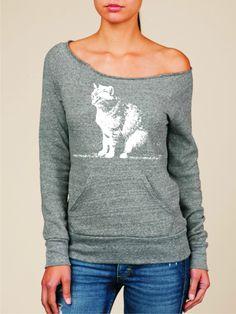 Womens off the shoulder sweatshirt - Abby Cat eco friendly Alternative Apparel fleece. $37.00, via Etsy.