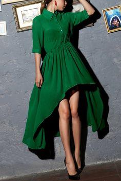 Irregular Hemline Pleated Dress