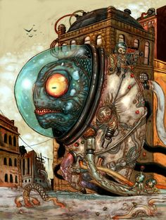 aquanaut monster city strange crazy painting illustration art sci fi