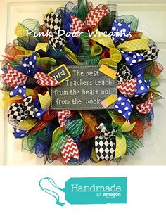 Teacher Classroom Birthday Party Multi Color Mesh Door Wreath; Primary Colors; Red Blue Yellow Green Black White from Pink Door Wreaths https://www.amazon.com/dp/B01FJ95X9Y/ref=hnd_sw_r_pi_dp_hi-GxbHJEMNRM #handmadeatamazon