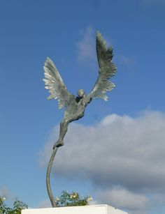 #Bronze #sculpture by #sculptor Nicola Godden titled: 'Icarus IV (Small Flying Outdoor Indoor sculptures)'. #NicolaGodden