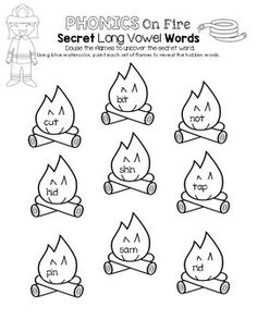 Phonics on Fire - Secret Long Vowel Words Firefighter School, Long Vowels, Community Helpers, School Themes, Fire Safety, Phonics, Fun Ideas, More Fun, Free Printables