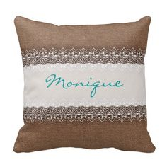 Sweet White Shabby Chic Lace on Rustic Burlap Pillow