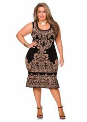 Sublimated Status Print Dress-Plus Size Dresses-Ashley Stewart