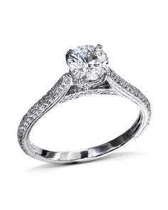 Platinum engagement ring mounting with 152 diamonds pavé-set on the band, under the center head and on the undergallery CTW, G-color, VS-clarity). Thing 1, Platinum Engagement Rings, Fine Jewelry, Wedding Rings, Gold, Clarity, Diamonds, Engagement, Diamond