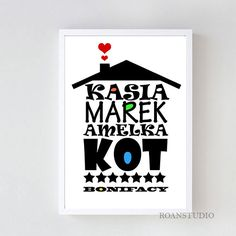 Typograficzny plakat w ramie  Domek z imion w Roanstudio na DaWanda.com