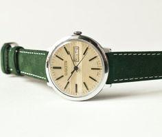 Mechanical watch Raketa, mens watch, mustard, forest green tones, USSR