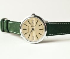 Mechanical watch Raketa, mens watch, mustard, forest green tones, USSR