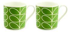 2 x Orla Kiely Quite Big Linear Stem Mugs - Green Orla Kiely, Mugs, Tableware, Green, Blue, Ebay, Amazon, Kitchen, Dinnerware